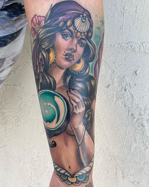 Gypsy woman tattoo created by tattoo artist Madison Tease of Sacred Mandala Studio. Madison is available for bookings in Durham, NC at Sacred Mandala Studio - Tattoo Shop and Art Gallery.