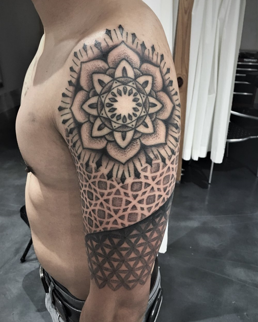 Black and Grey Mandala Sleeve done by tattoo artist, Alan Lott. Tattoo done at Sacred Mandala Studios in Durham, North Carolina.