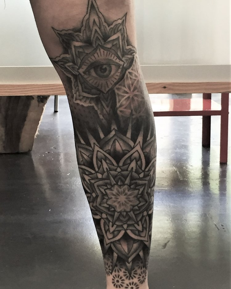 Mandala Lower Leg Sleeve Tattoo in Black and Grey created by Tattoo Artist Alan Lott at Sacred Mandala Studio in Durham, NC.