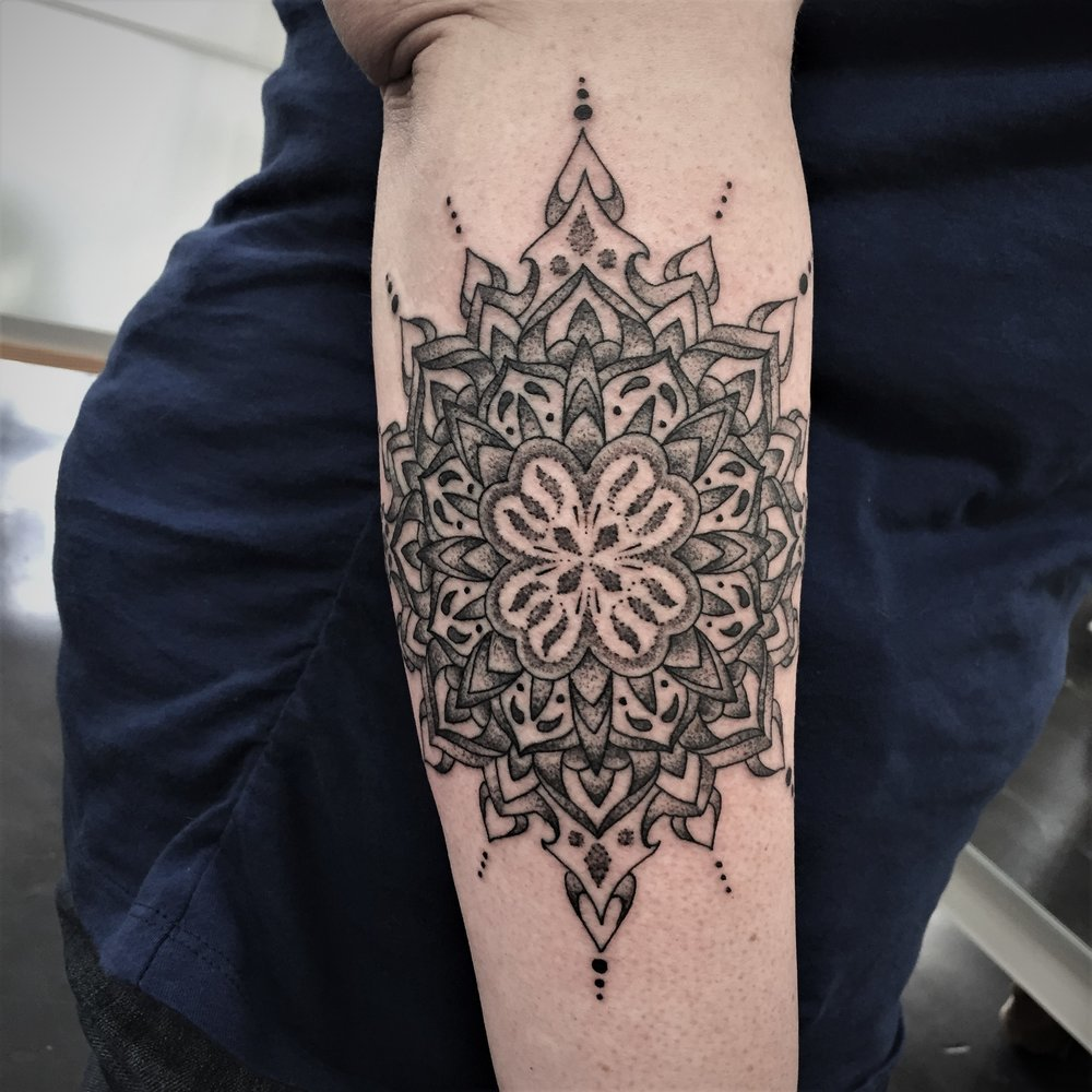 Intricate Mandala Forearm Tattoo in Black and Grey done by Tattoo artist Alan Lott at Sacred Mandala Studio in Durham, NC.