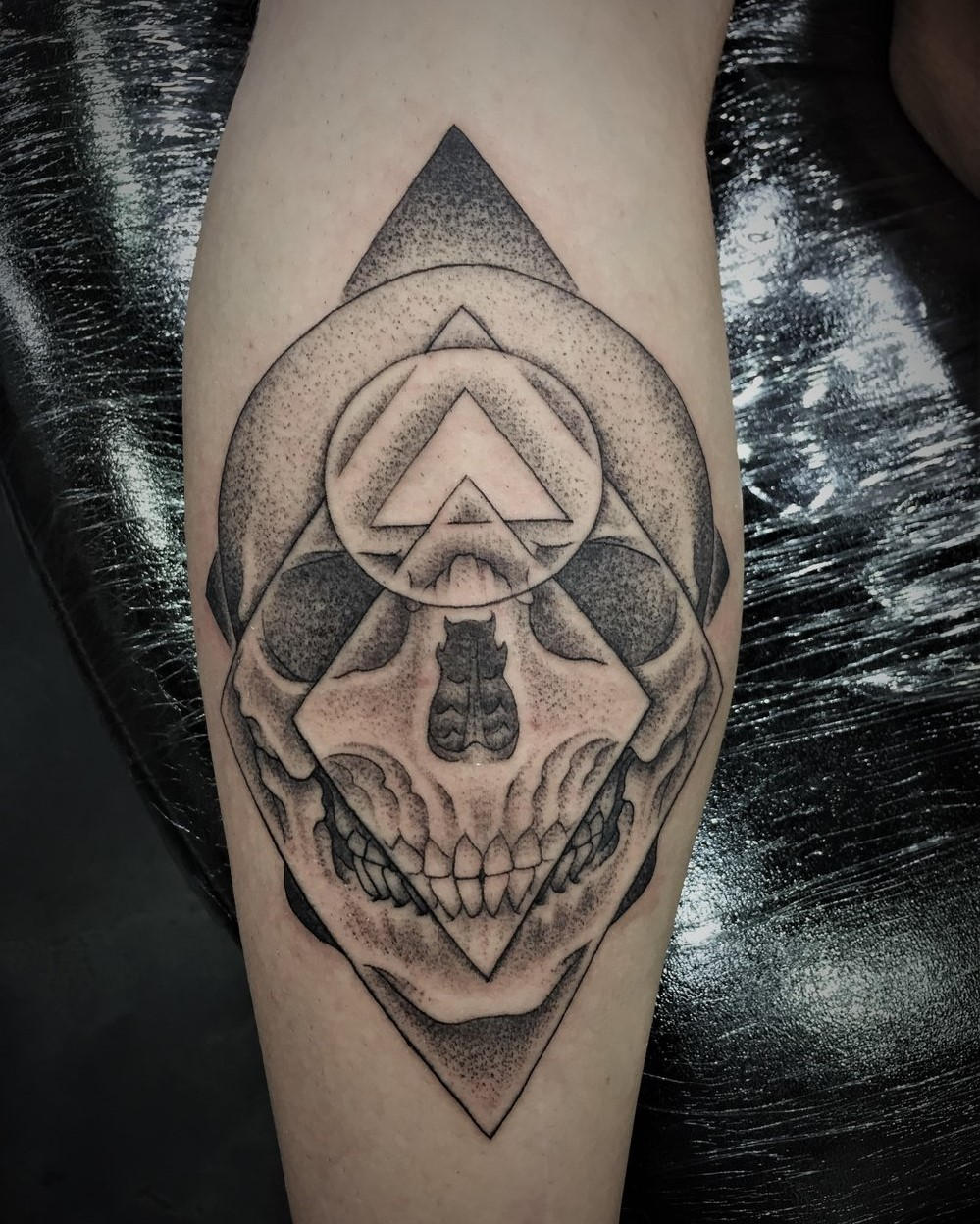 Sacred Mandala Studio's Tattoo Artist Alan Lott created this Skulls Head Forearm Tattoo in Black and Grey in Durham, NC.