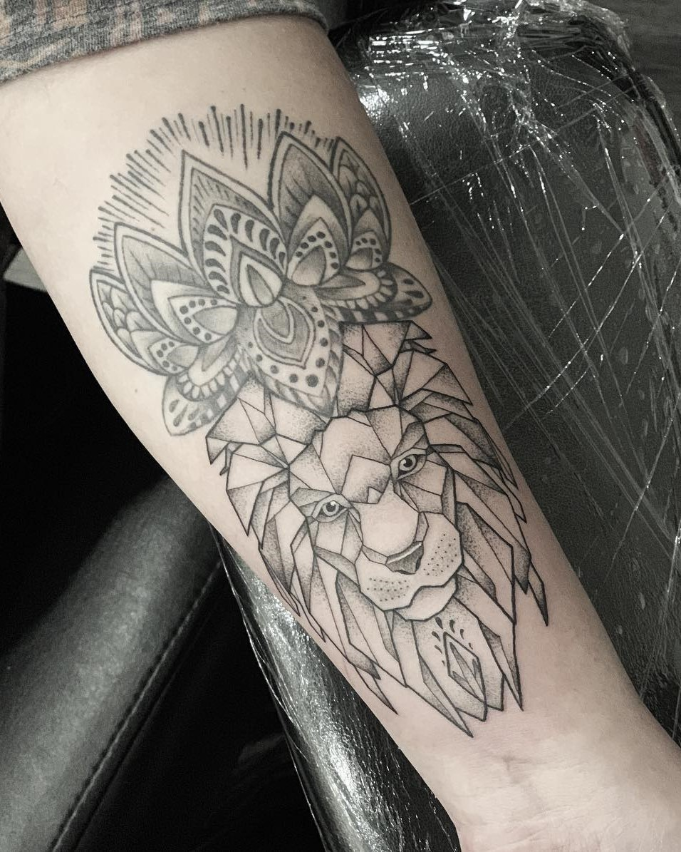 Mandala Lotus Flower with Geometric Lions Head Beneath - Black and Grey Tattoo done by Alan Lott. Alan Lott is available to create your next custom tattoo at Sacred Mandala Studio in Durham, NC.