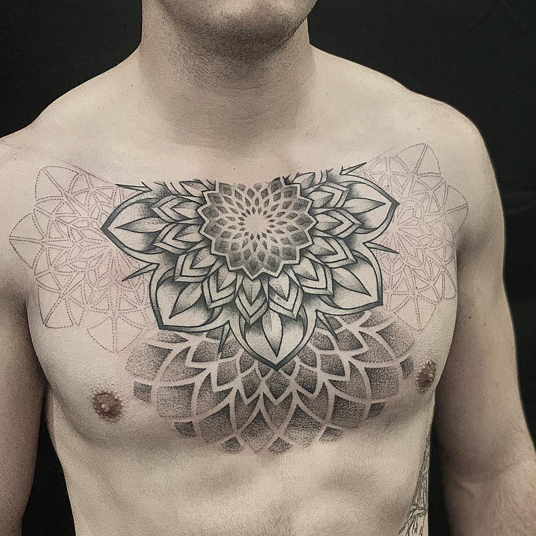 Full Chest Mandala Tattoo in Black and Grey - progress picture by tattoo artist Alan Lott at Sacred Mandala Studio in Durham, NC.