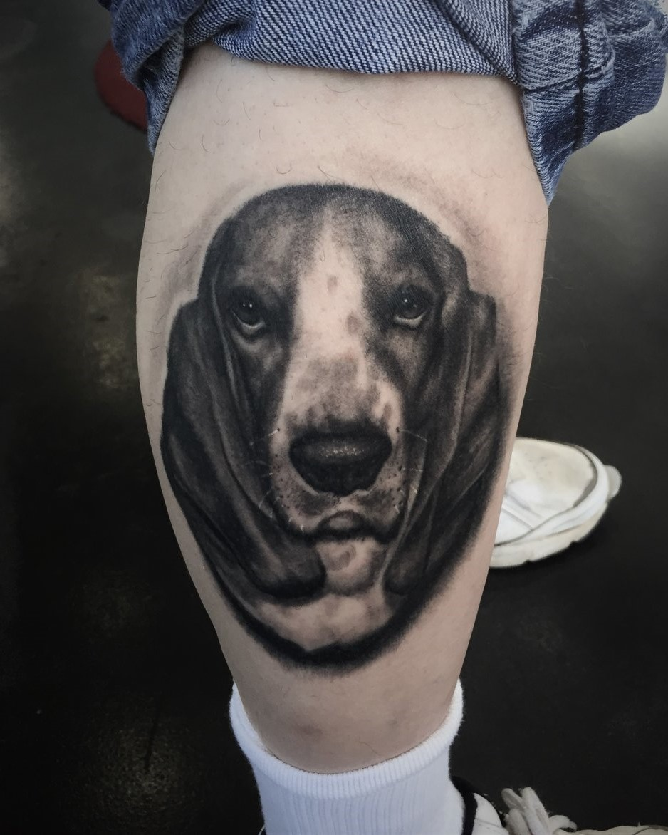 Dog Portrait Tattoo in Black And Grey. Tattoo of a Basset Hound done by Tattoo Artist Alan Lott at Sacred Mandala Studio in Durham, NC.