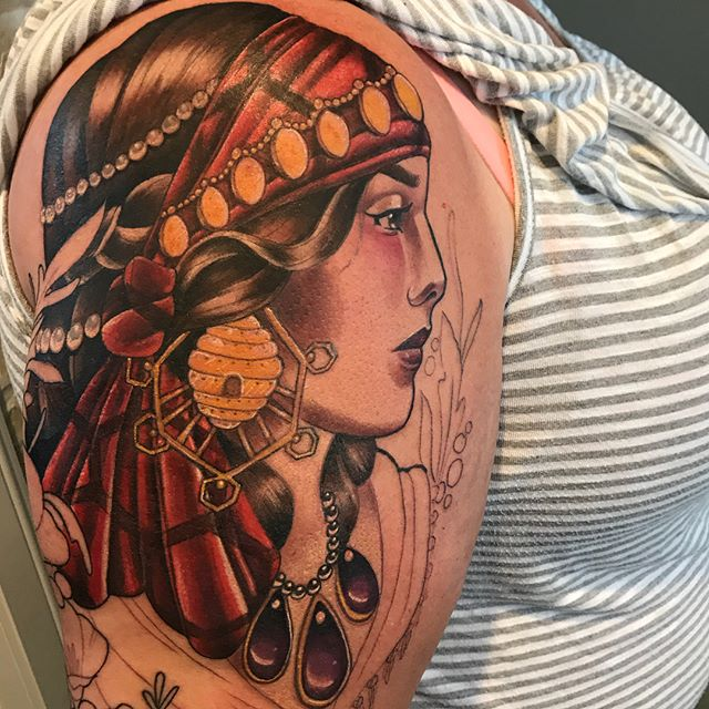 Portrait of a gypsy woman color tattoo by tattoo artist Madison Tease of Sacred Mandala Studio.