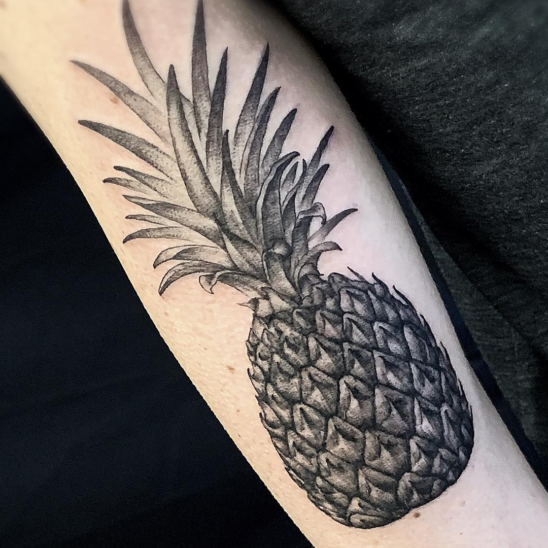 Black and Grey Forearm Tattoo of a Pineapple done by Tattoo Artist Alan Lott at Sacred Mandala Studio in Durham, NC - Custom Tattoo and Art Gallery in the Triangle of North Carolina - Raleigh, Durham, Chapel Hill